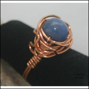 Copper and Stone Handmade Ring - Jewelry Hand Made