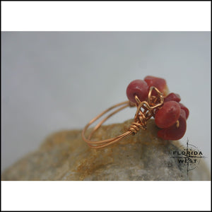 Copper & Bamboo Coral Handmade Ring - Jewelry Hand Made