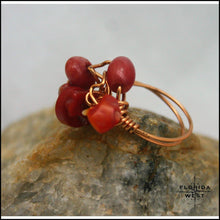 Load image into Gallery viewer, Copper & Bamboo Coral Handmade Ring - Jewelry Hand Made