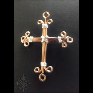 Copper & Sterling Filigree Cross Necklace - Copper Colored Pearlized Leather / 16 - Jewelry Hand Made