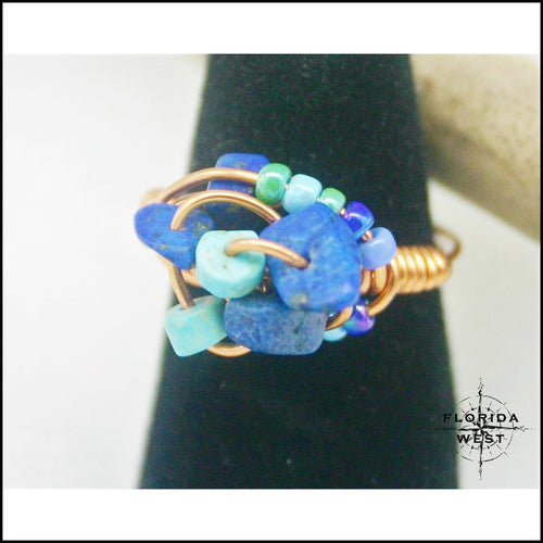 Copper Turquois and Lapis Handmade Ring - Jewelry Hand Made