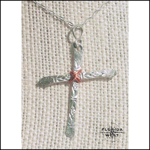 Hand Hammered Sterling Cross Neckalce - Jewelry Hand Made