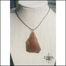 Load image into Gallery viewer, Large Brown Sea Glass - Copper Wire Wrap - Jewelry Hand Made