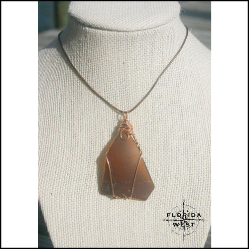 Large Brown Sea Glass - Copper Wire Wrap - Jewelry Hand Made
