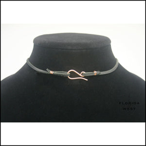 Leather Choker Copper Clasp