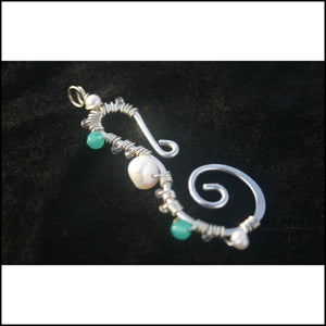 Seahorse Pendant - Large - Sterling Pearl and Apatite - Jewelry Hand Made