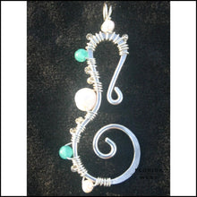 Load image into Gallery viewer, Seahorse Pendant - Large - Sterling Pearl and Apatite - Jewelry Hand Made