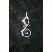 Load image into Gallery viewer, Seahorse Pendant - Large - Sterling Pearl and Apatite - Large / Amethyst - Jewelry Hand Made