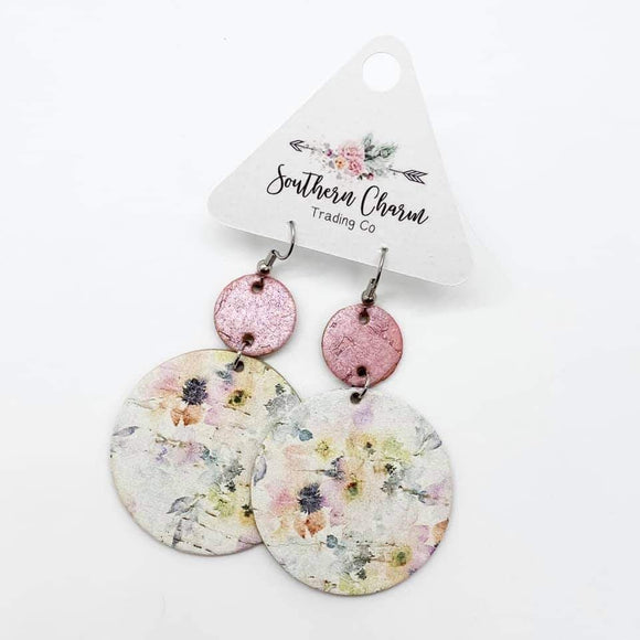 Pink Floral Dangle Piggyback Earrings