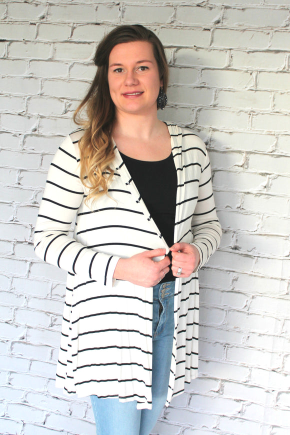 Everly Striped Hooded Cardigan