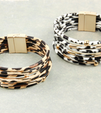 White & Grey Leopard Bangle Bracelet