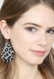 Grey Leopard Teardrop Earrings