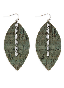 Olive Green Cork Feather Earrings