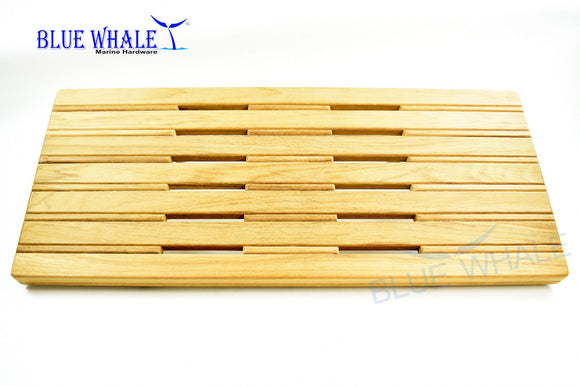 Wall Mounted 24 Inch × 13 Inch Folding Down Shower Teak Board Slats Bench for Boat , Steam, Sauna Room - Blue Whale Marine Hardware