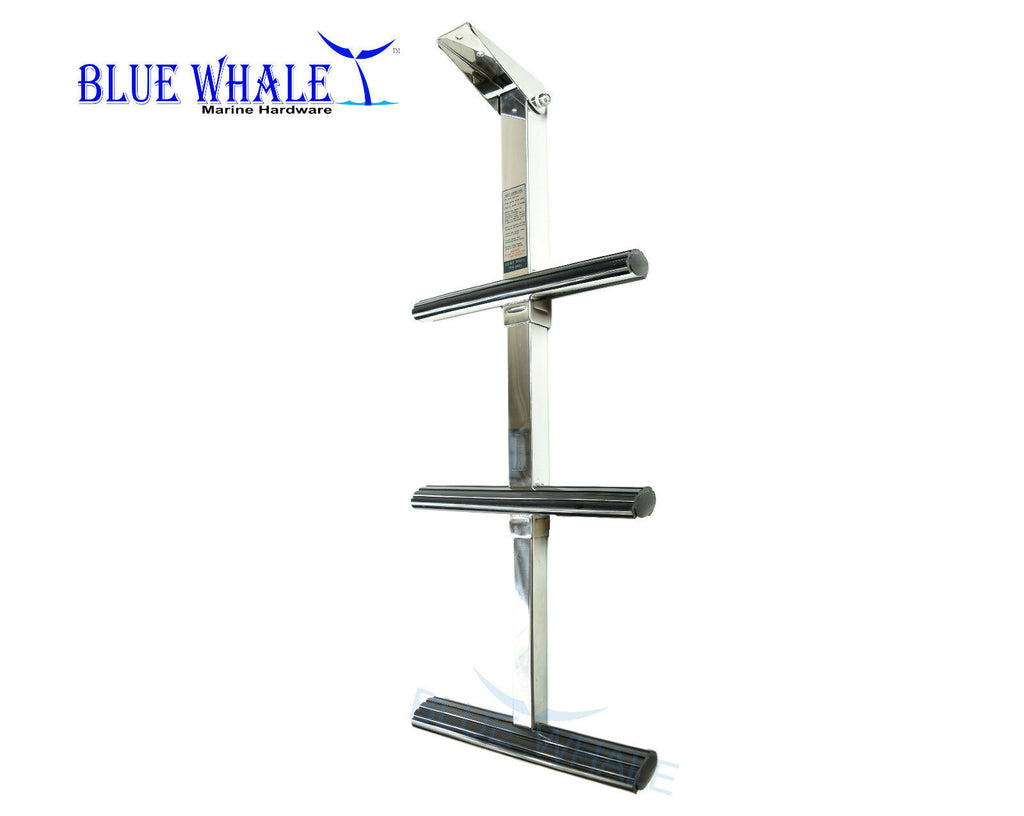 BLUE WHALE Marine Stainless-Steel 3-Step Flip-Up Telescoping Ladder for Boat USA