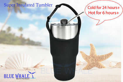 30oz Dual Insulated Tumbler Mug w/ Carrier & Straw USA BL3251015865220777 - Blue Whale Marine Hardware