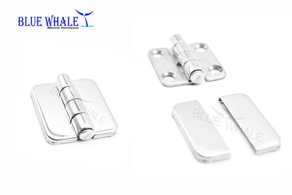 "316 S.S. Hinge w/ Cover Caps 2PCS (SIZE:1.5""×1.5"") BL74541520 - Blue Whale Marine Hardware"