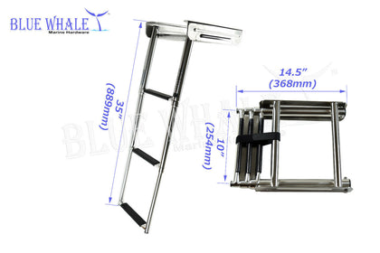 3-Step Telescoping S.S. Under Platform Ladder USA BL73510135 - Blue Whale Marine Hardware