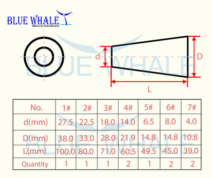 4 PCS Tapered Conical Soft Wood Plugs (Set of 10) USA Grade A BL29510131 - Blue Whale Marine Hardware