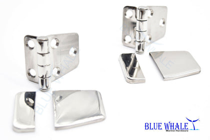 2 PCS 316 S.S. Short Sided Strap Hinge & Cover Caps 2.2