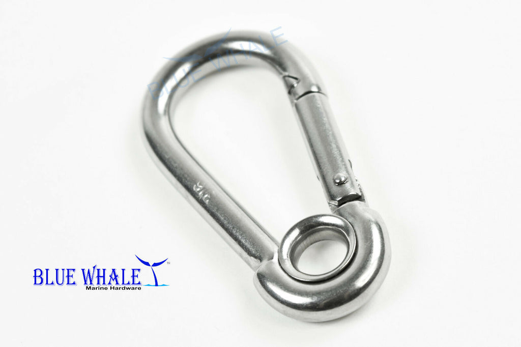 "BLUE WHALE 316 Stainless-Steel Carabiner Snap Hook with Ring (C: 2-3/4"") from US"