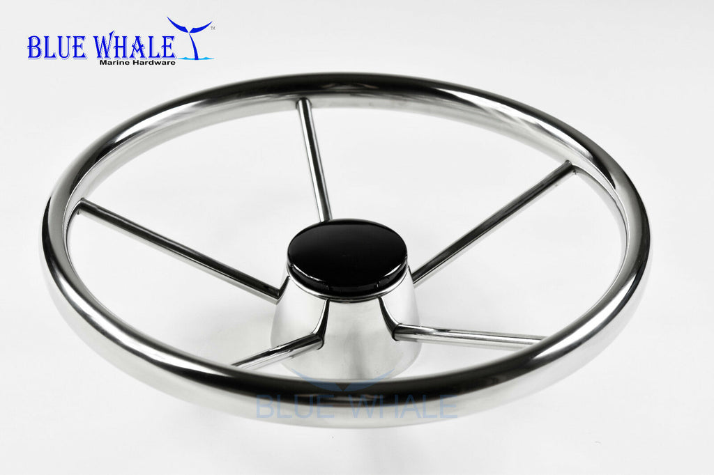 "S.S. 15-1/2"" Dia. 5 Spokes Steering Wheel for Yacht BL91510102"