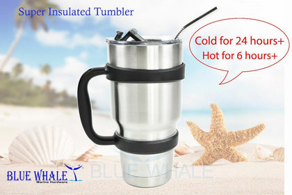30oz Dual Insulated Tumbler w/ Cover Handle & Straw BL3251016100586577 - Blue Whale Marine Hardware