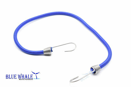 "Blue 20"" Bungee Cord w/ S.S. Hook USA BL20510142 - Blue Whale Marine Hardware"