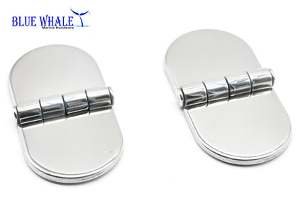 2PCS 316 S.S. D-Shaped Covered Strap Hinge w/ Cover Caps BL74541543 - Blue Whale Marine Hardware