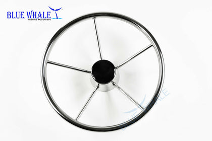 "S.S. 15-1/2"" Dia. 5 Spokes Steering Wheel for Yacht BL91510102 - Blue Whale Marine Hardware"