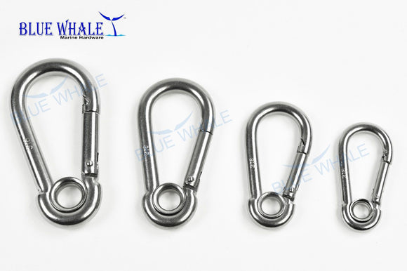 A Set of 4 316 Stainless Steel Snap Carabiner Hook Key Ring Attach With Rope For Boat (2 Set of 4) - Blue Whale Marine Hardware