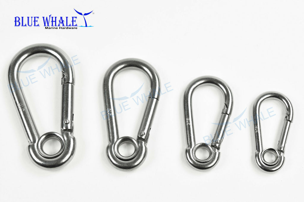 Set of 4 316 S.S. Ring Carabiner Snap Hook USA BL3100N56780094