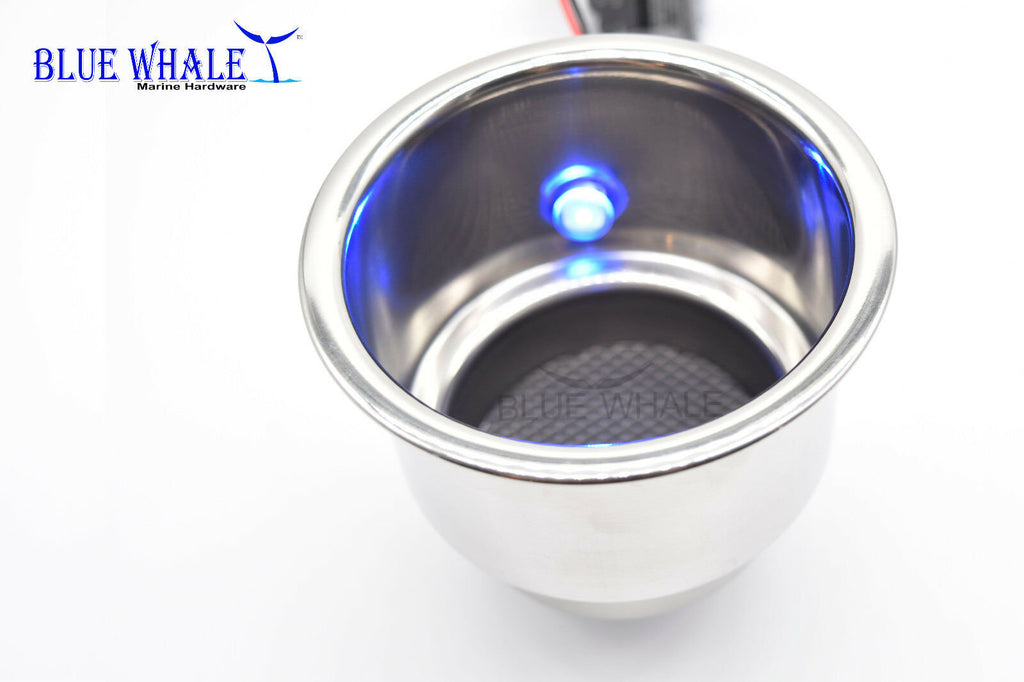 4PCS BLUE WHALE Marine LED Blue Stainless Steel Cup Drink Holder with Drain USA