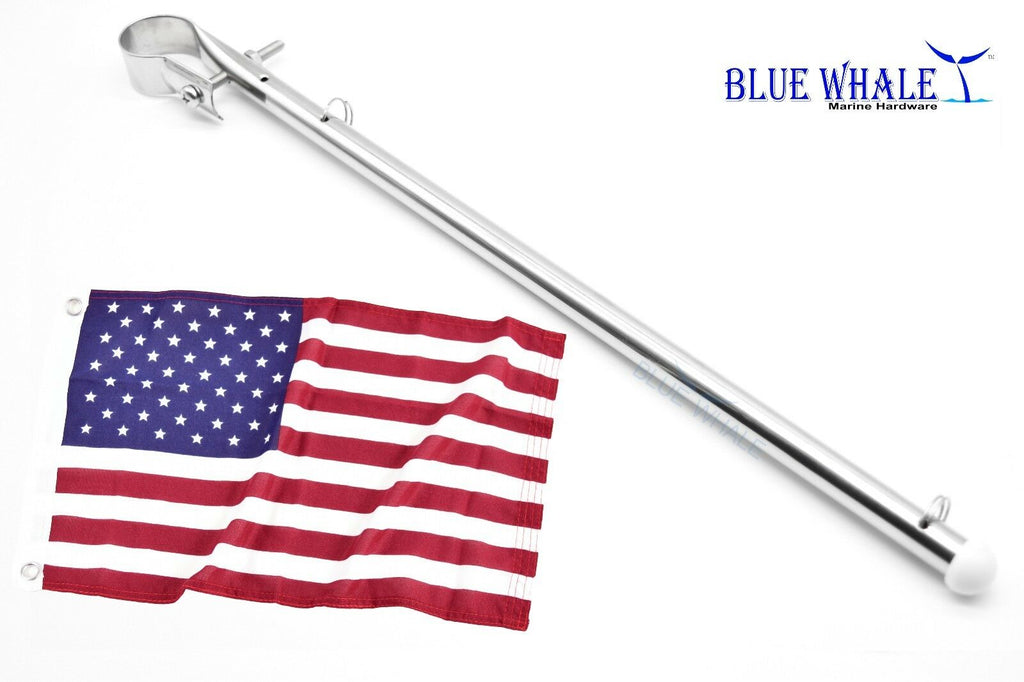 "Stainless-Steel Mount Flag Staff / Pole and 12""X18"" USA Flag (4PCS)"
