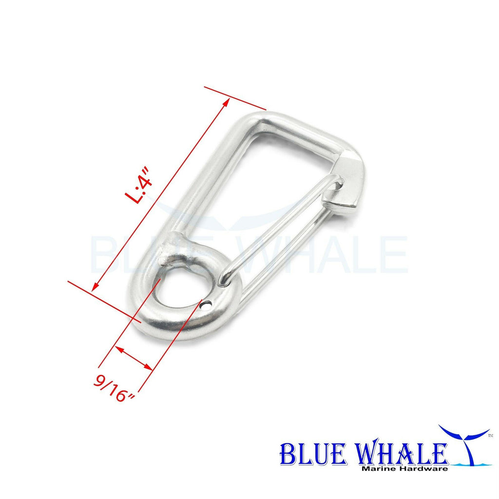 "Blue whale 316 Stainless Steel Carabiner Snap Hook Spring Hooks (A: 4"") USA BL32521051"