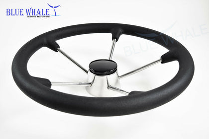 "15-1/2"" Boat Stainless Steel Steering Wheel with Black Foam Grip USA BL91560102 - Blue Whale Marine Hardware"