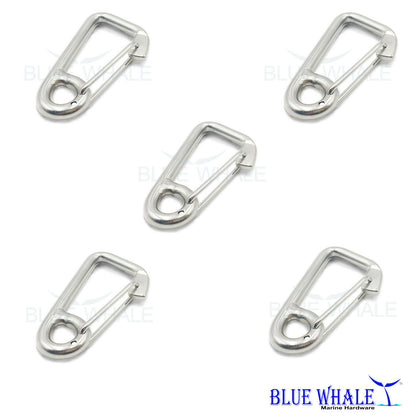 Set of 5 Silver Spring Carabiner Snap Hook Quick Link Stainless Steel 316 Keychain Clip - Blue Whale Marine Hardware