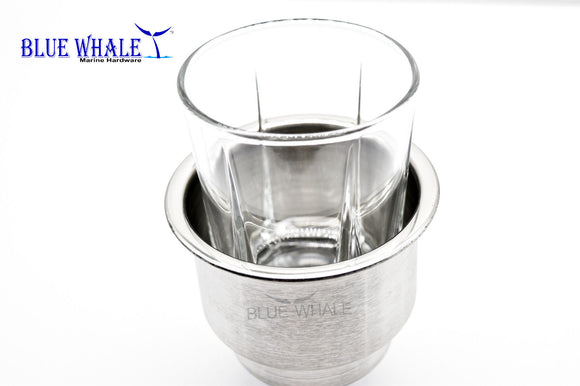 2PCS Stainless Steel Cup Holders Use As Cup Drink Holder With Center Drain Hole - Blue Whale Marine Hardware
