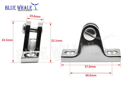 4PCS 80 Deg. Angle Deck Hinge for Bimini Top/Canopy Deck US BL43510214 - Blue Whale Marine Hardware