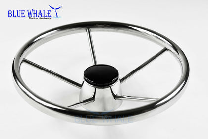 "S.S. 13-1/2"" Dia. 5 Spokes Steering Wheel for Yacht BL91510103 - Blue Whale Marine Hardware"