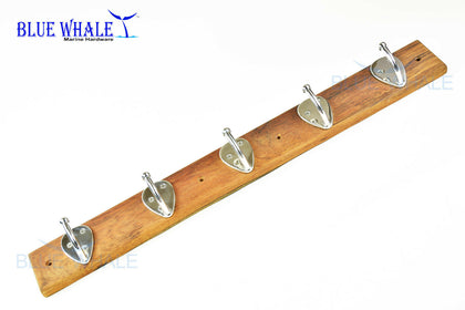 Teak 316 S.S. Wall Mount 5 Hooks for Coat Hat Towel BL05540520 - Blue Whale Marine Hardware