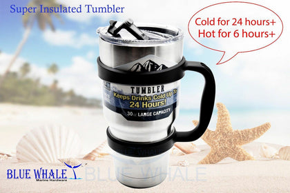 Sliver 30oz Dual Insulated Tumbler/Mug w/ handle BL325101610077 - Blue Whale Marine Hardware