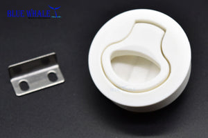 2PCS Round White Nylon Flush Pull Slam Latch For RV Boat Blue Whale Hardware - Blue Whale Marine Hardware