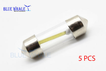 5PCS White COB Chip LED Festoon Light (DC 12V 1.5W) USA BL32310114 - Blue Whale Marine Hardware