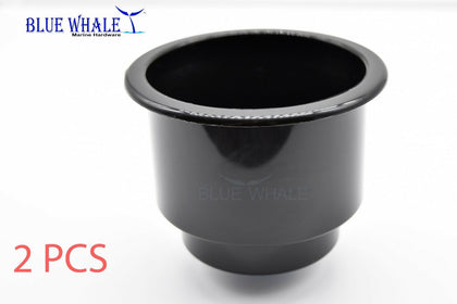2PCS Black Plastic Cup Drink Holder w/ Side-Drain Hole USA BL31610173 - Blue Whale Marine Hardware