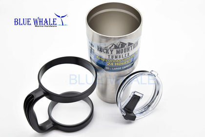 2PCS 30oz Dual SS.Insulated Tumbler/Mug & handle USA BL325101610077 - Blue Whale Marine Hardware