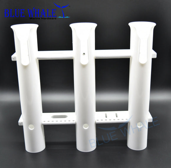 White Plastic Fishing Pole Holder With 3-Rack And High Impact Resistance - Blue Whale Marine Hardware