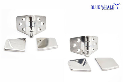Completely Fold Over Covered Strap Self Closing Door Hinges - Blue Whale Marine Hardware