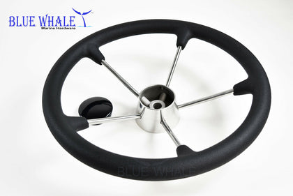 "13-1/2"" S.S. Steering Wheel w/ Black Foam USA BL91560103 - Blue Whale Marine Hardware"