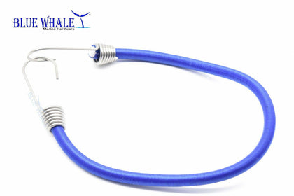 "Blue 12"" Bungee Cord w/ S.S. Hook USA BL20510143 - Blue Whale Marine Hardware"
